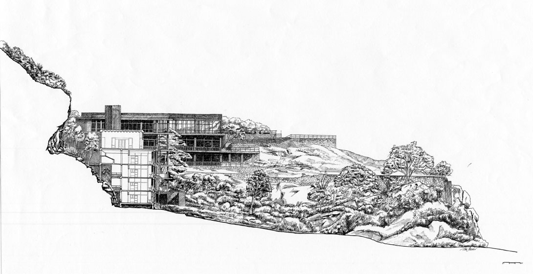 Kandalama Hotel Sectional Elevation Through The Hotel Showing The