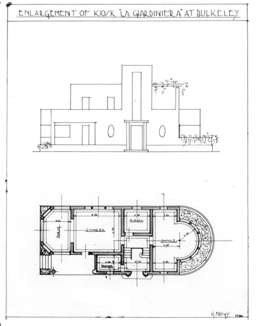 Kiosk La Giardinara Design Drawing Elevation And Ground