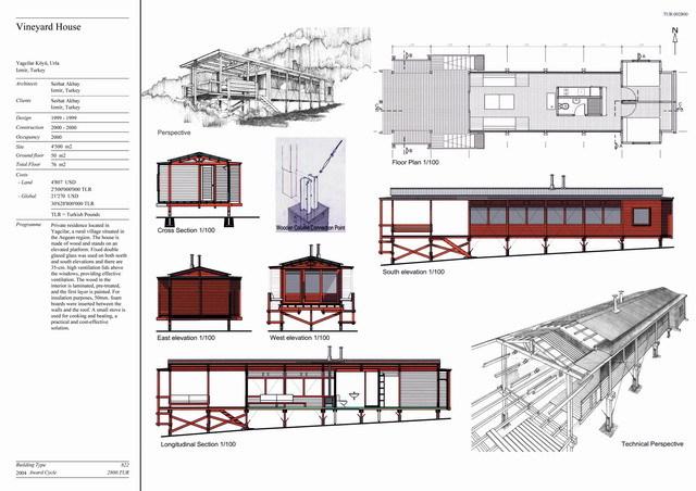 Vineyard House | Presentation panel with floor plan, elevation
