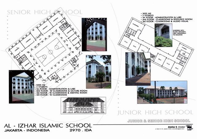Al-Izhar Islamic School   Presentation panel with floor plans and