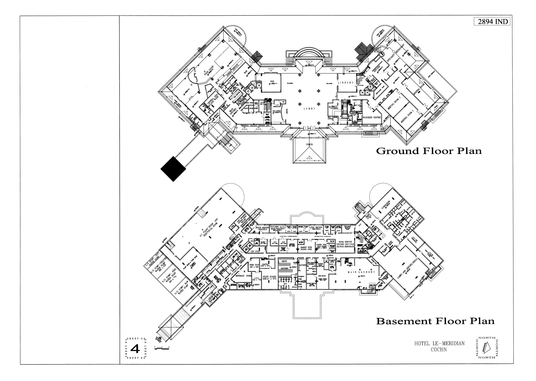 Presentation panel, hotel, basement and ground floor plans