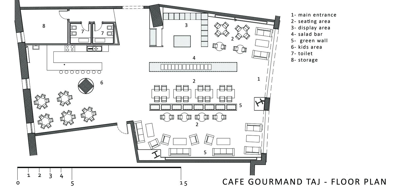 The Cafe Gourmand Taj Mall First Floor Plan Archnet