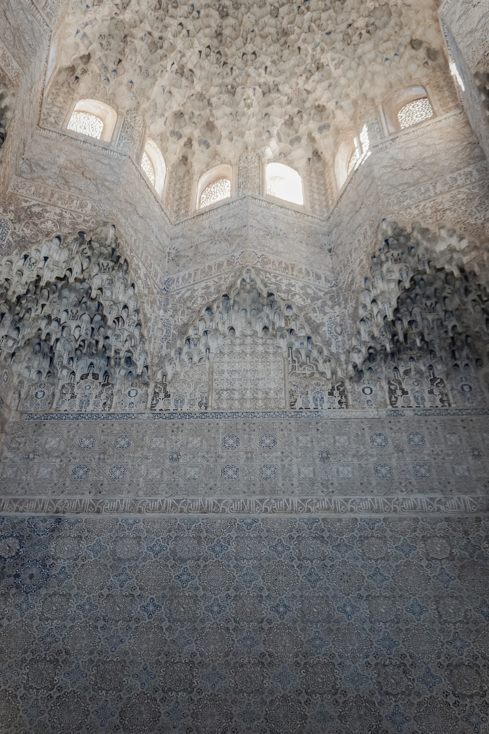 . Interior view up at the panoply of muqarnas in the Sala de Dos