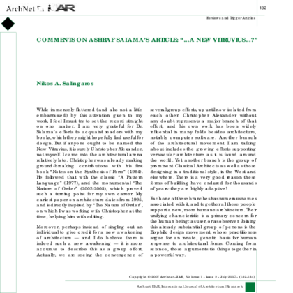Comments On Article Nikos A Salingaros New Vitruvius For 21st Century Architecture And Urbanism