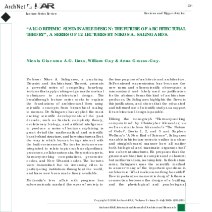 Algorithmic Sustainable Design The Future Of Architectural Theory A Series 12 Lectures By Nikos Salingaros