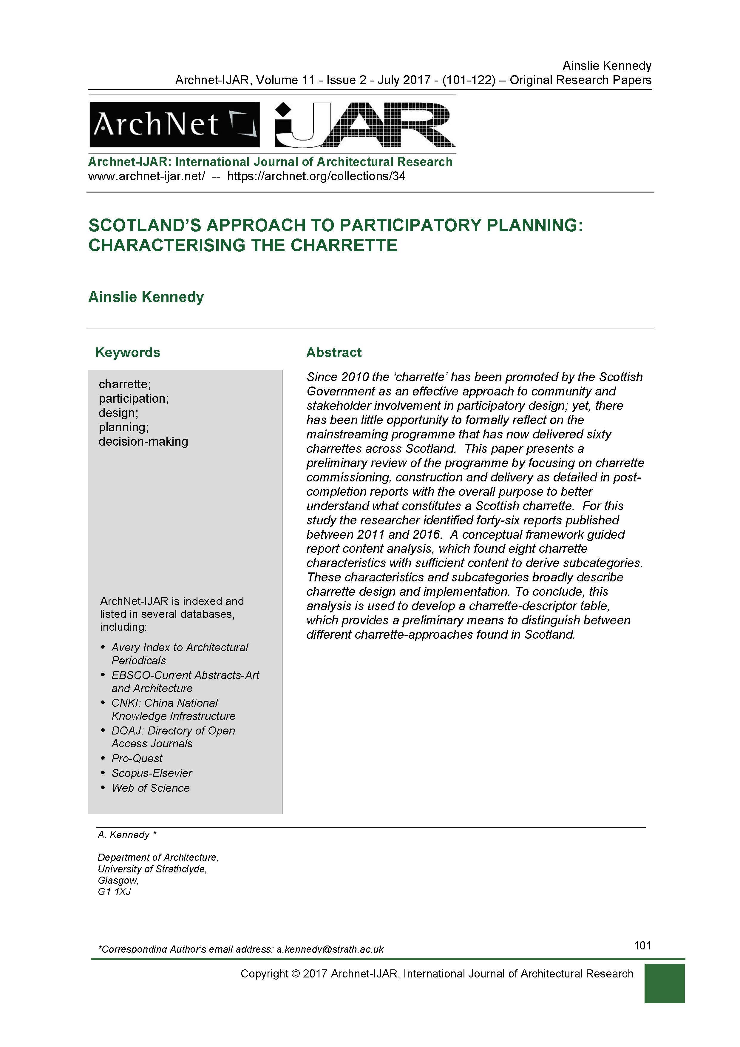 Scotland's Approach to Participatory Planning