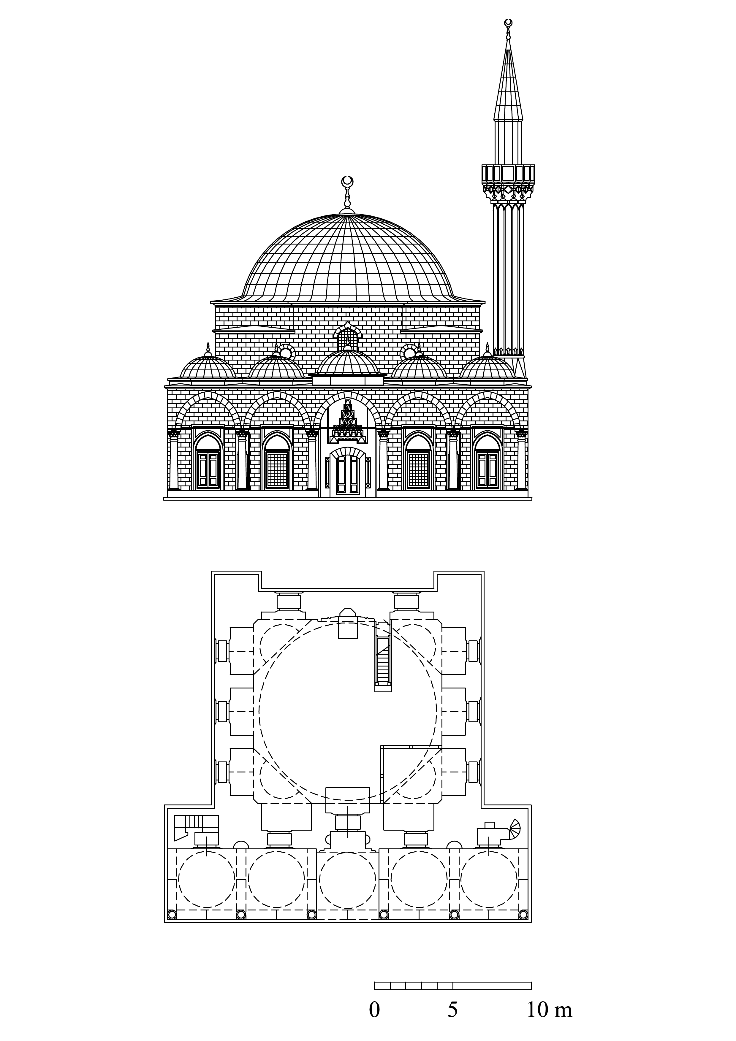Floor plan and elevation of Bali Pasa Mosque | Archnet