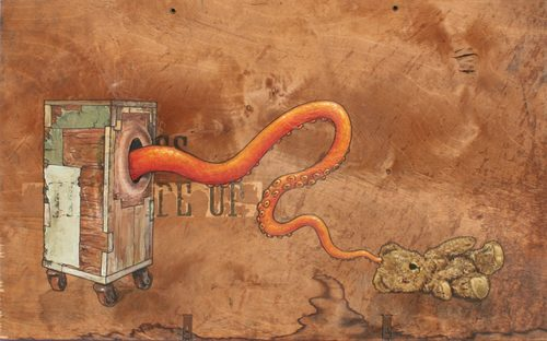 20170116204313-tentacle_touch_teddy_acrylic_painting_of_orifice_box_octopuss_tentacle_and_teddy_bear_on_old_plywood_packing_crate_by_artist_wayne_chisnall__1024x639_
