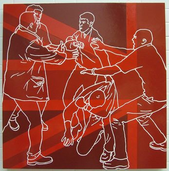 20170116204831-the_ambassadors_red_and_brown_figurative_gloss_painting_football_violence_hooligans_on_mdf_box_structure_line_drawing_by_artist_wayne_chisnall