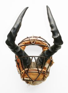20170116210256-rosie_rose_mask_minimal_intervention_found_object_sculpture_horns_and_vintage_childs_baseball_mask_by_british_artist_sculptor_wayne_chisnall