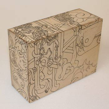 20170116223047-rca_secret_2015_black_ink_drawing_of_weird_morphed_forms_creatures_found_objects_postcard_plywood_box_sculpture_by_london_artist_wayne_chisnall__1_