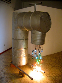 18_bright_eke__public_tap_1__2006__light_bulbs__wire__water_