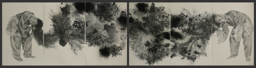 Mequitta__fount__waxy_chalk_on_paper__36inx156in__2009