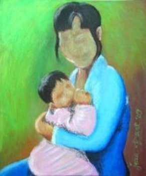 Single_mother_and_child__oil_pastel_on_sandpaper