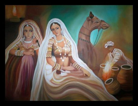 Rajasthani_beauties_30__x24___repoduction_sold_