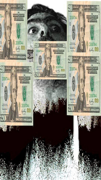 Kaloust_guedel__money_talk_14__mixed_media_on_canvas_over_board__48x28