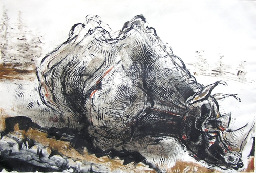 Rhino__bruce_waldman__monoprint