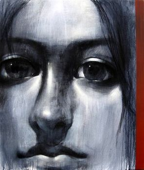 Blue-the__expectant_gaze__60x50__charcoal___acrylic_on_canvas