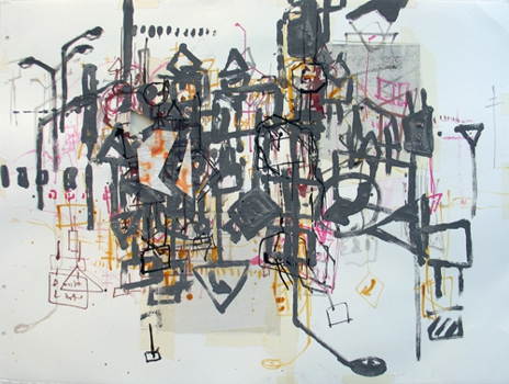Hole_in_a_traffic_jam__mixed_media_on_paper__24x30in