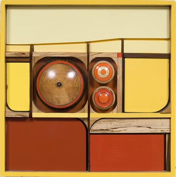 Emmett_kerrigan_red_yellow_butter_2007_laminated_wood_and_enamel_37_x_37_x_5