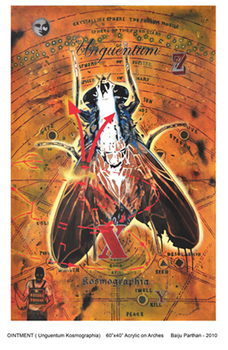 Title-_ointment__unguentum_kosmographia___medium-_acrylic_on_arches__size-_60_by_40_inch_by_baiju_parthan