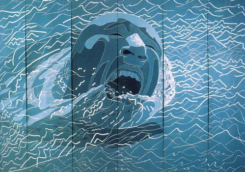 Fang_lijun__untitled__1999__multi-panel_woodblock_prints__488_x_732_cm