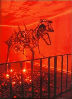 Jin_jiangbo__chinese_tyrannosaurus__multimedia_installation__600x250x100cm__2005