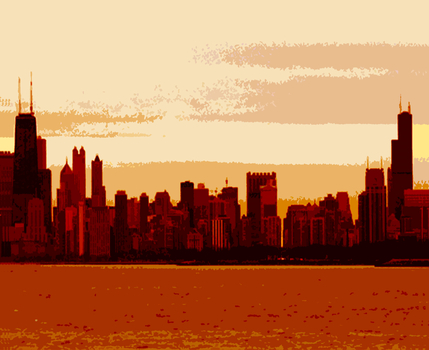 Chicago_skyline_sunset__digitally_enhanced_photograph__2002