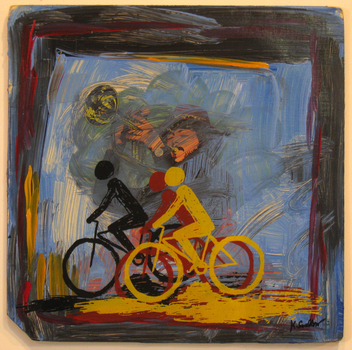 Bicycles__horn___screen_print_and_acrylic_on_record_album__12x12__2009___100