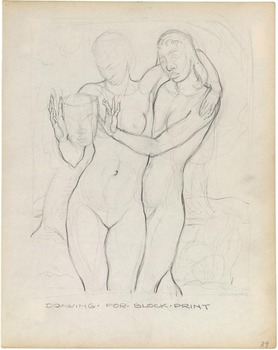 Drawing_for_block_print__two_women_with_mask___c1935