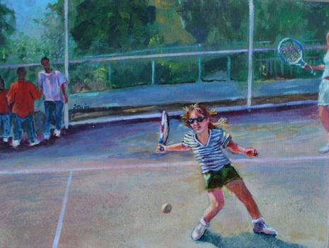 Alice_on_the_court_acrylic_on_cavas_9x12_in