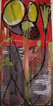 Amy_wilkinsons_gas_mask__3_x7__acrylic_and_spray_paint_on_folding_closet_doors__2008
