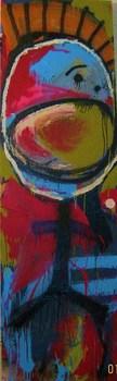 Fish_boy_2_x7___acrylic__spray_paint_and_mixed_media_on_wood_door