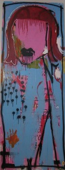 Her_2_x7__acrylic__spray_paint_mixed_media_on_wood_door__2008