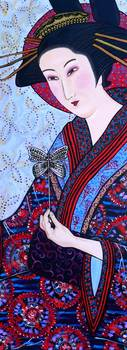 Geisha_with_butterfly__mixed_media_on_canvas__28x80inch_71x203cm