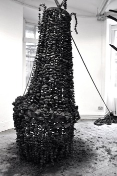 Neelova__nika__the_night_also_falls__charcoal__burnt_wood___rope_dimensions_variable_2010