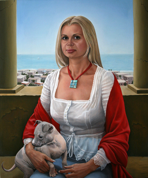 _lady_with_the_dog_after_raphael__2010__oil_on_canvas__24_x_20_inches