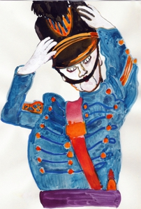 Tallman-cadet_adjusting_hat--water_soluble_oil__ink_and_gouache_on_paper_2006