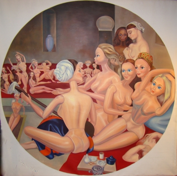 Barbie_s_turkish_bath__oil_on_linen__72x72