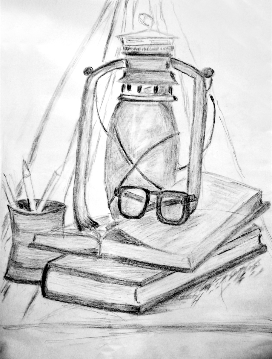 Still life composition with old lantern books and pencil holder with pencils