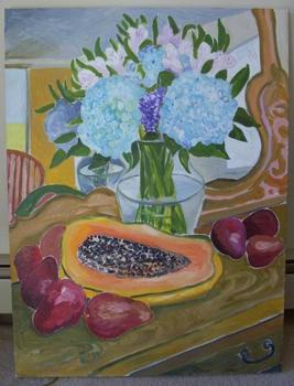 Hydrangea__papaya_and_red_pears_2008