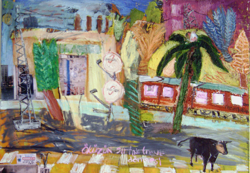 2008_bull_ignoring_the_train_50cmx70cm__mixed_media_on_canvas