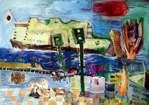 2008_boat_colliding_with_a_panini__50cmx70cm_mixed_media_on_canvas