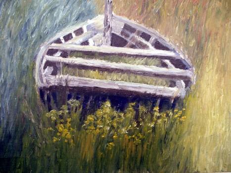 Cb_-_sailing_through_grass__the_cashen__2006__13_x_16