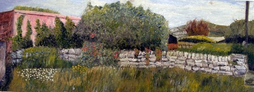 An_-_wall__a__with_hedge_and_flowers__knoppoge__2006__11