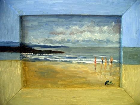 Bb_-_bathers_on_wet_sand__ballybunion__2004__5_x_7__wood___30_