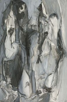 Ws_morris_splay_black_and_white_9_2007_mixed_media_on_paper_22_x_36_inches