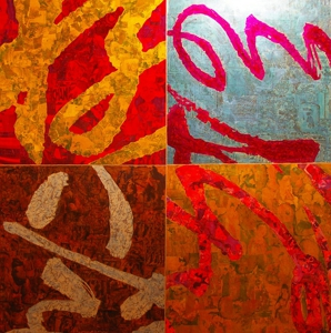 Xue_song__consciousness_calligraphy_mixed-media_on_canvas_150x150cm_four_works__2006-2