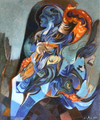 Ozlu__2007_blue_woman__46x38_cm__alkyde_and_oil_on_canvas__signed_at_bottom_right_side