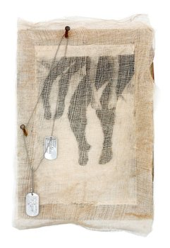 20130416043908-mouth_or_toe_tag_mixed_media_coffee_stained_gauze__thread__photo_litho_transfer_on_canvas__found_pier_wood__rusty_nails_and_military_dog_tags_maria_cristina_jadick_2011